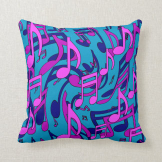 Music Notes Lively Pink Purple Blue Green Pattern Throw Pillow