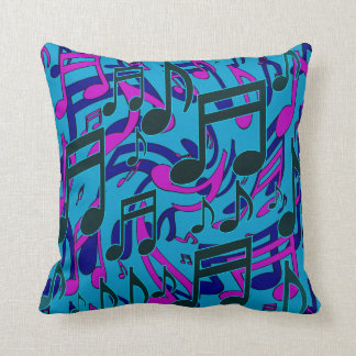 Music Notes Lively Purple Blue Green Pattern Pillows