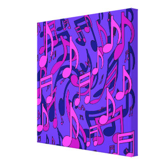 Music Notes Lively Upbeat Pattern Pink Purple Blue Gallery Wrap Canvas