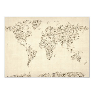 Music Notes Map of the World 13 Cm X 18 Cm Invitation Card