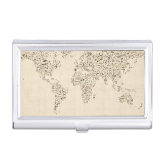 Music Notes Map of the World Business Card Holder
