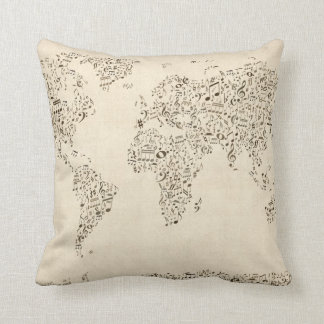 Music Notes Map of the World Cushion