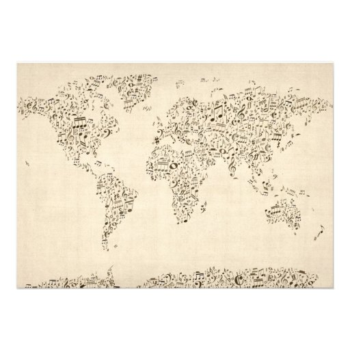 Music Notes Map of the World Invitations