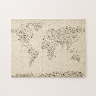 Music Notes Map of the World Jigsaw Puzzle