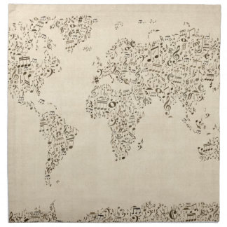 Music Notes Map of the World Napkin