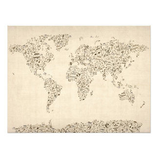 Music Notes Map of the World Photo