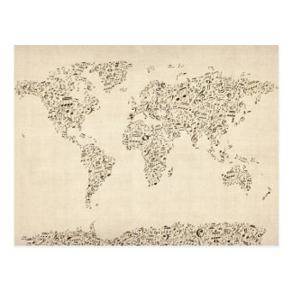 Music Notes Map of the World Postcard