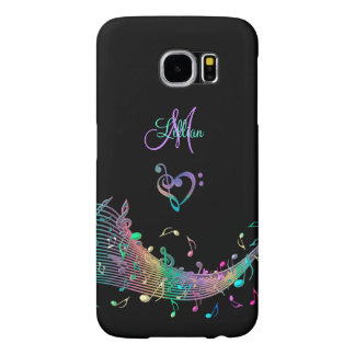 Music Notes n Clef Heart Monogram Galaxy S6 Case