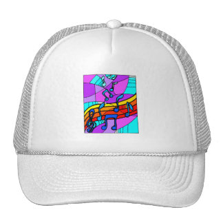 Music notes on stained glass type background blue trucker hat