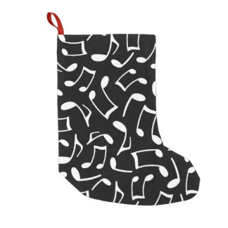 Music Notes Pattern Black and White Small Christmas Stocking