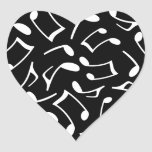 Music Notes Pattern Black and White Stickers