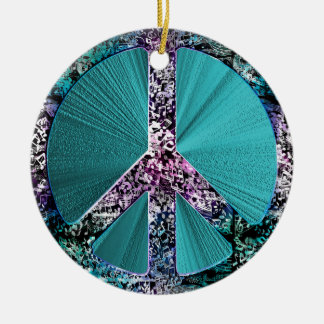 Music Notes Peace Sign Holiday Ornament