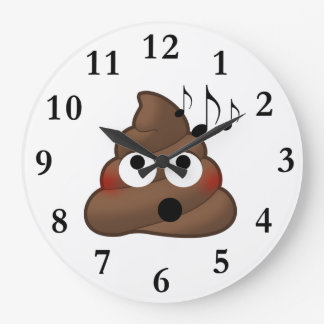 Music Notes Poop Emoji Large Clock