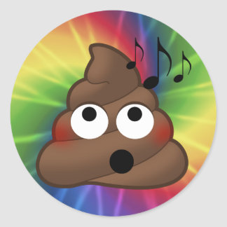 Music Notes Poop Emoji Tie Dye Round Stickers