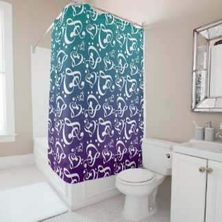 Music Notes Purple Teal Ombre Pattern Clef Hearts Shower Curtain