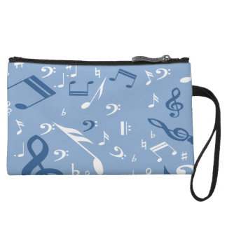 Music Notes Random Pattern Blue and White Wristlets