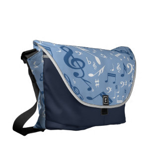 Music Notes Random Pattern Blue and White Messenger Bag