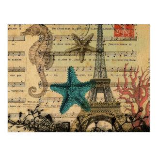 music notes seahorse starfish paris eiffel tower postcard