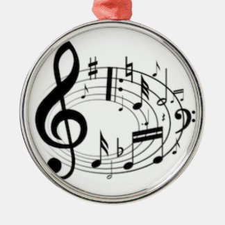 MUSIC NOTES Silver-Colored ROUND DECORATION