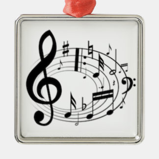 MUSIC NOTES Silver-Colored SQUARE DECORATION