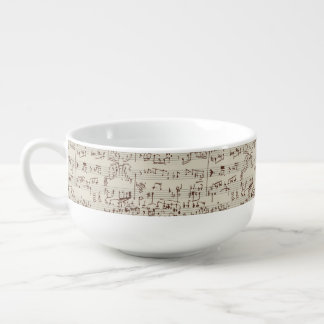 Music notes soup bowl with handle