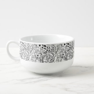 MUSIC NOTES-SOUP MUG SOUP BOWL WITH HANDLE
