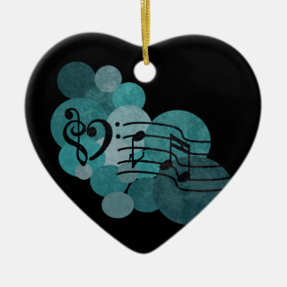 Music notes & teal polka dots ornament decoration