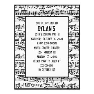 Music notes theme birthday party invitations 21.5 cm x 28 cm flyer