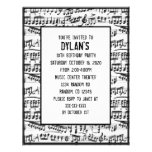 Music notes theme birthday party invitations flyers