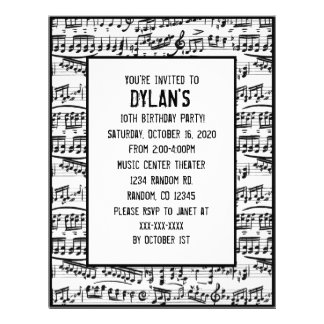 Music notes theme birthday party invitations flyer