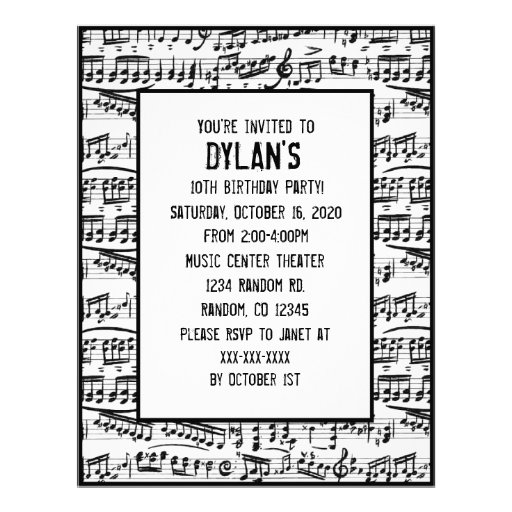 Music notes theme birthday party invitations flyer design