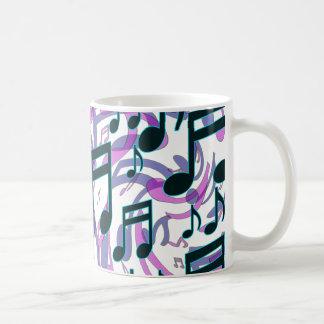 Music Notes Translucent Swirly Pattern Basic White Mug