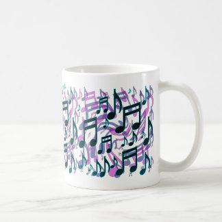 Music Notes Translucent Swirly Pattern Coffee Mugs