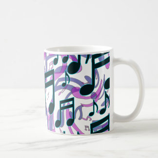 Music Notes Translucent Swirly Pattern Mugs