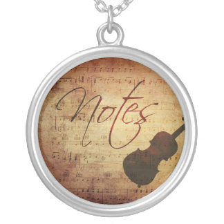 Music Notes Vintage Grunge Antique Look Custom Necklace