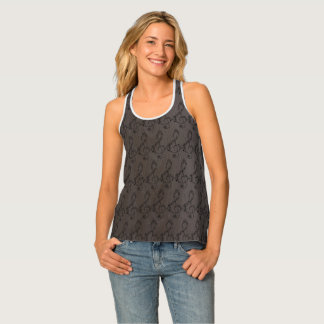 Music Notes & Wood Tones Color Tank Top