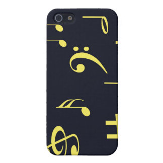 Music Notes - Yellow on Black iPhone 5 Cases