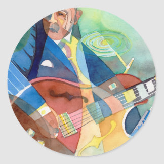"""Music Painting """"Jazz Guitarist"""" Round Stickers"""