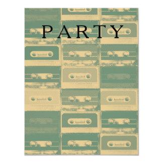 Music party cassette pattern. 11 cm x 14 cm invitation card