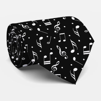 Music Pattern Classy Black & White Musical Tie