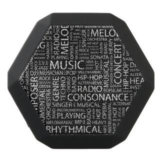 MUSIC pattern word cloud Black Bluetooth Speaker