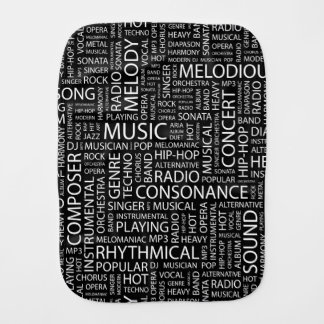 MUSIC pattern word cloud Burp Cloth