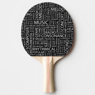 MUSIC pattern word cloud Ping Pong Paddle