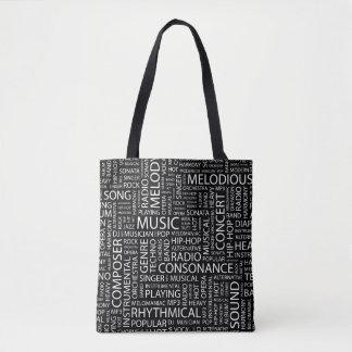 MUSIC pattern word cloud Tote Bag