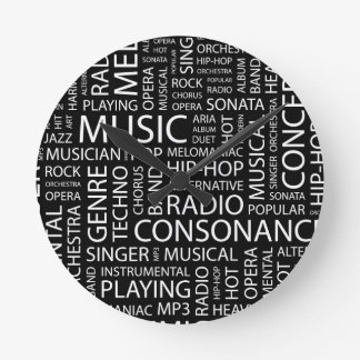 MUSIC pattern word cloud Wall Clocks