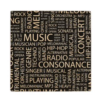MUSIC pattern word cloud Wood Coaster