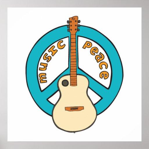 Music Peace Guitar Poster