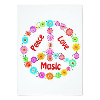 Music Peace Love 13 Cm X 18 Cm Invitation Card