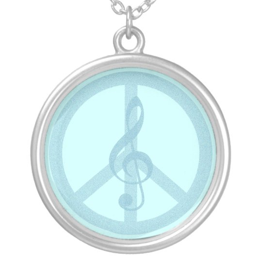 Music Peace Silver Plated Necklace