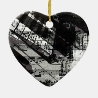 music, piano decor (10) ceramic heart decoration